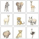Frechdax® 9er Set Kinderzimmer Poster Baby Bilder 13x13cm | Waldtiere Safari Afrika Tiere Tierposter Luftballon Ballon Farbwahl (9er Set 13x13cm, Safari, ohne Ballon)