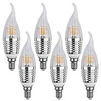 LEDMO LED Candle Bulb,7W Warm White 2700K LED Chandelier Bulbs,Base E14 Non-Dimmable LED Lamp,60-Watt Light Bulbs Equivalent,630 Lumens LED lights(Flame sharp 6 Pack)