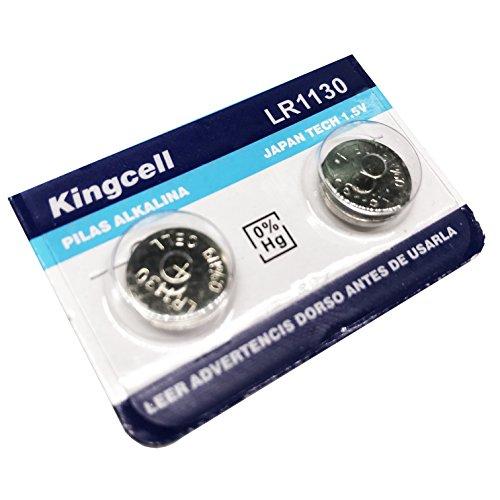 Kingcell Lot de 2 piles bouton LR1130 AG-10 390 alcalines lithium pour calculatrice, montre 1,5 V