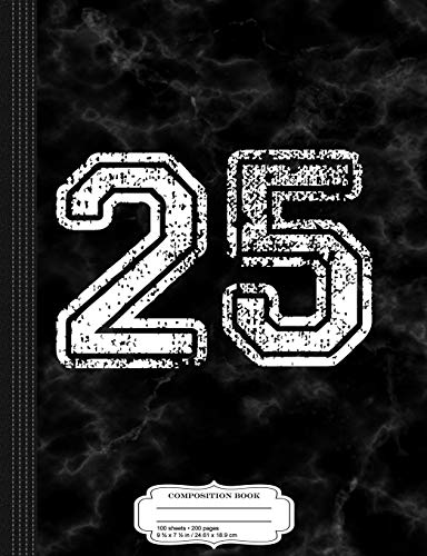 Distressed Number 25 Jersey Composition Notebook: College Ruled 9¾ x 7½ 100 Sheets 200 Pages For Writing -
