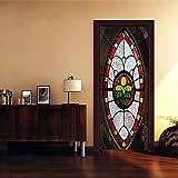 Adhesivos de pared decorativos nuevo 3D vidrieras decorativas etiqueta de la pared sala de dibujo 38.5 * 200 cm * 2 unids