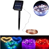 JIGUOOR 10M 100 LED Solar Powered Copper Wire Ambiance String Fairy Light +2m Down-lead String Light for Gardens, Homes, Room , Wedding, Christmas Party ,Festival decoration,Indoor, Outdoor