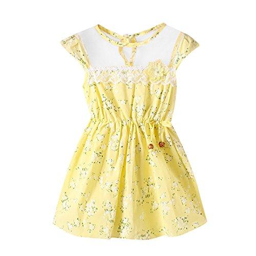 JUTOO Neugeborenes Kleinkind Baby Mädchen Mode Blumendruck Spitzennetz beiläufige Prinzessin Kleid Kleidung ()