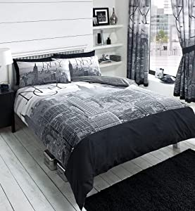 York City Skyline - Black & Grey Printed Duvet Cover Bed Set