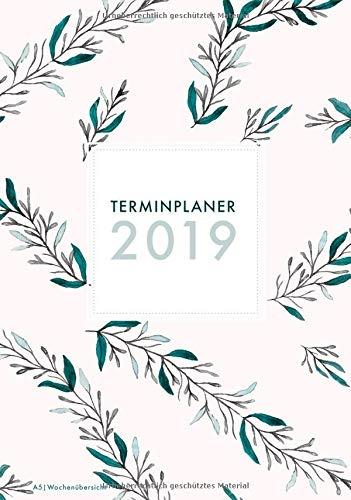 Terminplaner 2019 A5 Wochenübersicht: 1 Woche auf 2 Seiten Terminkalender mit hübschem Blumenmuster, handliches Format Platz für Notizen (modische Farne türkis, blau, Band 1)