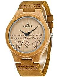 Relojes de madera de bambú natural con correa de piel de vaca e Infinity diseño,