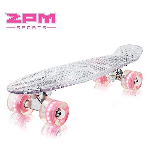 2pm Sports Paco Mini Cruiser Retro Skateboard Komplettboard mit LED Leuchtrollen Vintage Kunststoff Board für Kinder Mädchen und Erwachsene - Rosa