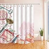 Nyngei Kosmetik- und mit Dekor Watercolor Parfüm, Lippenstift-Pinsel für Frauen-Schimmel reißfestem Nylon Badezimmer Duschvorhang mit Haken 180x 180cm