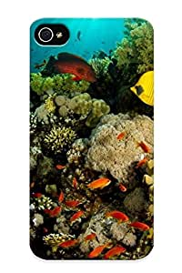 Improviselike Iphone 4/4s Hybrid Tpu Case Cover Silicon Bumper Tropical Fish Around The Coral Reef