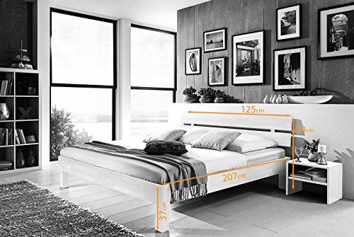 SAM® Massiv-Holzbett Jessica in Buche weiß, Bett mit geteiltem Kopfteil, natürliche Maserung, massive widerstandsfähige Oberfläche in edlem Weißton, 120 x 200 cm - 6