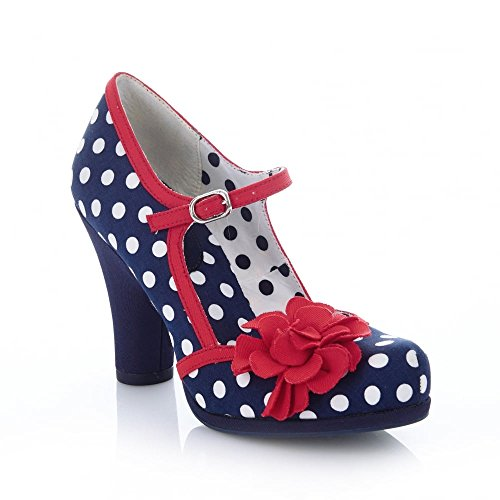 Ruby Shoo Damen Schuhe Hannah Punkte Rosen Pumps Blau 39