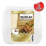 """Orblue Nut Milk Bag, bolsa para hacer nuez y vegetales leches, 12 """"x12"""" reciclable de almendro en leche bolsa, bolsa de filtración cartucho multiuso (Estameña 3 unidades)"""