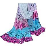 OverDose Frauen Elegant schöne Rose Muster Damen Chiffon Schal Wraps Schals Halstuch Tücher Schlauchschal,A-Sky Blue