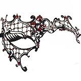 Signstek Laser-Cut Metal Schwarz venezianischen Maskerade-Maske für Frauen mit Kristallen Halbaugenmaske (Schwarz mit Rotstraß)