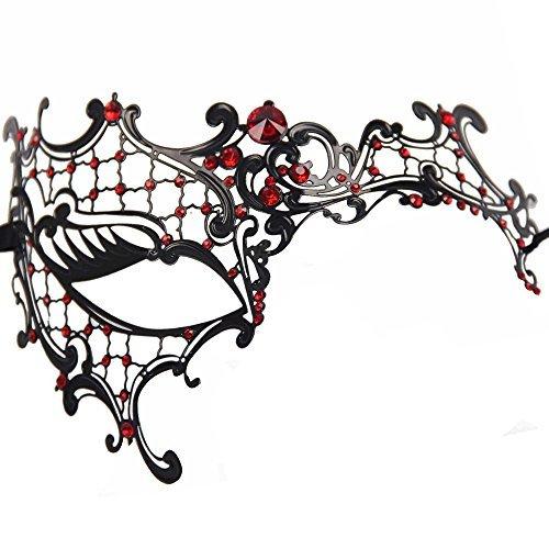 etal Schwarz venezianischen Maskerade-Maske für Frauen mit Kristallen Halbaugenmaske (Schwarz mit Rotstraß) (Maskerade Maske Für Frauen)