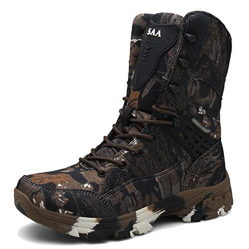 NDHSH Herren Camo Militärstiefel Übergrößen Schuhe Taktische Stiefel Hohe Wanderschuhe Cadet Sicherheitsstiefel rutschfeste Turnschuhe,Brown-47 (Camo-gummi-stiefel)