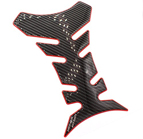 Gel Motorrad Tankpad 3D Carbon Glanz universell von Finest-Folia (Carbon Schwarz Rot Glanz) -