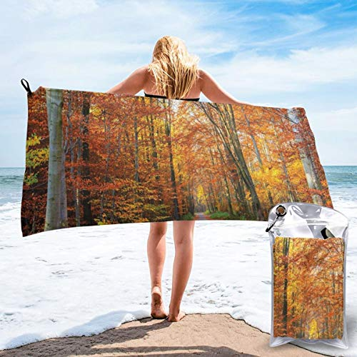 "pants hats Pathway Covered with Fallen Leaves Through in Fall Forest Vibrant Tree Theme Beach Bath Towel Fast Drying Absorbent Towels for Camping, Backpacking, Gym, Sports, And Swimming 27.5""x55"""