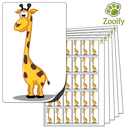 480 x Aufkleber - Giraffe (38 x 21 mm). Hochwertige selbstklebende Etiketten mit Tiermotiv von Zooify.