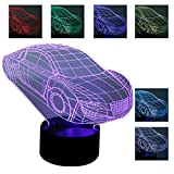 A-SZCXTOP 3D Vision Effect LED Lamp Perfect Nightlight Home Office Decoration Bedroom Nightstand Bedside light with Smart Touch and 7 Color Optional-Car