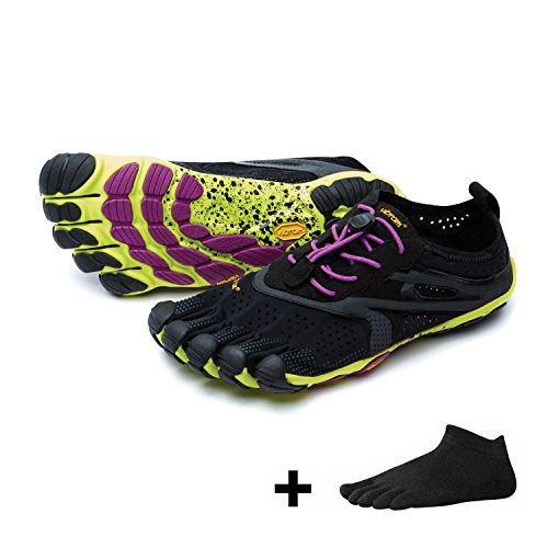 Vibram FiveFingers Bikila EVO 2 Women / V-Run + Zehensocke, Size:38;Color:Black/Yellow/Purple