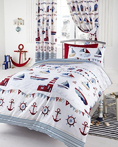 Children's Cot Bed / Junior Bed / Toddler Bed Duvet Cover and Pillowcase Sets - 120cm x 150cm (Nautical)