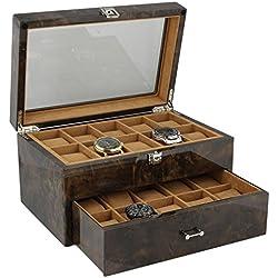 Armbanduhr Sammler Box für 20Handgelenk Uhren in dunklen Wurzelholz von aevitas