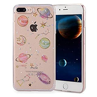 Mochatopia iPhone 8 Case, iPhone 7 Case, Bling Glitter Cute [Planet Stars] [3D Design Embedded] Ultra Slim Thin Fit Flexible Soft Silicone TPU Back Cover Case For Apple iPhone 7/8 [Clear]