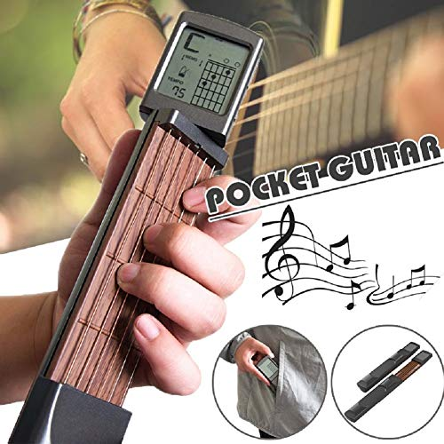 r Chord Practice Tool, Portable Guitar Neck for Trainer Beginner w/a Rotatable Chords Chart Screen (Battery Included) ()