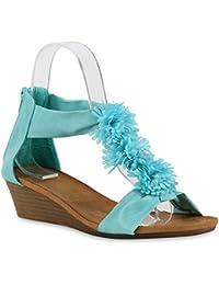 Bequeme Damen Sandaletten Blumen Wedges Sommerschuhe Strass | Flandell®