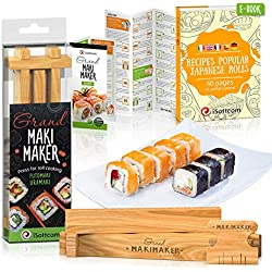 Sushi making kit by Isottcom per chef e principianti, Makimaker Grand your own Best Professional chef sushi roll kit, rotoli a casa vostra giapponese con sushi Maker, easy making Oriental food