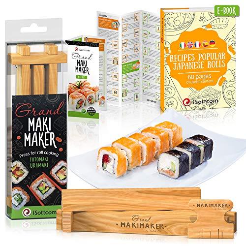 Set von Isottcom - Sushi Set geeignet für Profis und Anfänger - Sushi Maker für schnelle Zubereitung von Sushi - Hausgemachte Japanische Rollen mit Maki Maker selber machen