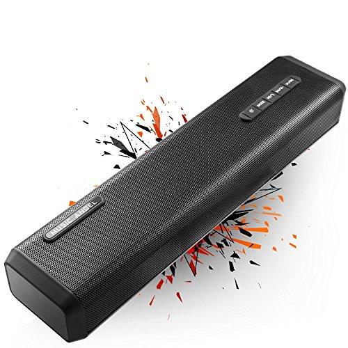 MUSIC ANGEL tragbare Wireless Bluetooth Soundbar Lautsprecher 4000mAh ca. 24 Stunden Akkulaufzeit, 10W, max 20W Bass Output, schnurlosen Lautsprecher, Rechner und Handy