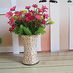 OLQMY-Rota tejida a mano plegable, florero flores flores del hierro labrado, decoración para el hogar canastos, 15cm, colores aleatorios