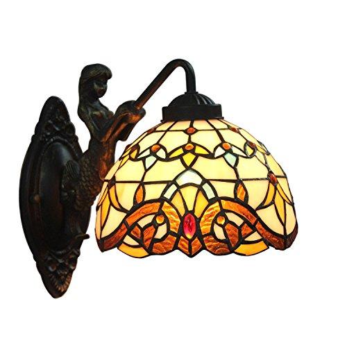 AIFUDE Tiffany 8-Zoll-europäischen Barock Tiffany Wandleuchte Schlafzimmer Licht Mermaid-Stil Spiegel-vorderes Licht-Hallen-Lampe