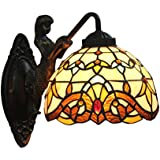 AIFUDE Tiffany 8 pulgadas Europea Barroco Tiffany Lámpara de pared Luz Dormitorio de estilo sirena espejo luz delantera Pasillo de la lámpara