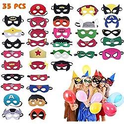 35 Piezas Máscaras de Superhéroe, Máscaras para Niños, Suministros de Fiesta de Superhéroes, Máscaras de Cosplay de Superhéroe con Cuerda Elástica Máscaras de Ojos para Niños Mayores de 3 años