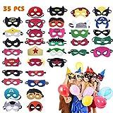 Hossom Superhelden Masken, 35Pcs Kindermasken, Filz Masken, Superheld Party Masken, Kinder Cosplay...