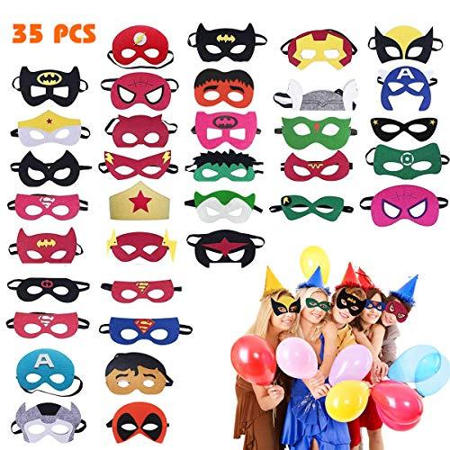Hossom Superheld Masken, Superheld Party Masken, 35 Pcs Kindermasken, Filz Masken, Kinder Cosplay Masken für Geburtstagsfeier, Halloween Cosplay Perfekt von Kinder ab 3 Jahren