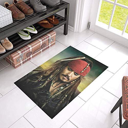vrupi Gut aussehend Sterne Poster Foto drucken individuell Bedruckte Johnny Depp Türmatte langlebig rutschfeste Eingangsmatte Willkommen Indoor Schlafzimmer Küche Eingangstür Matte Türmatte 40 * 60cm -