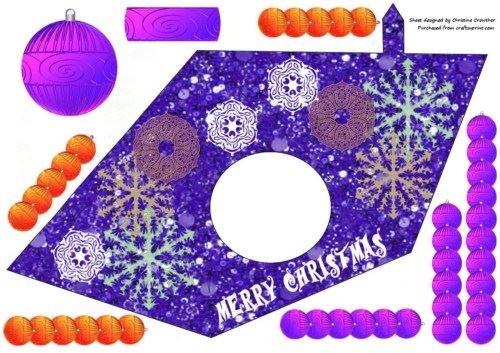 Boule de Noël et flocons en forme de Triangle-Christine Crowther Violet