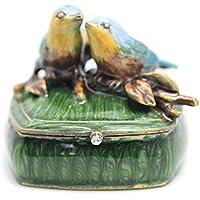 NIKKY HOME Portagioie Scatole per Gioielli Scatola Custodia Box Scatola Espositore Display Dimostra Per anello Orecchini Collana Vintage Verde con Uccello Decorazione