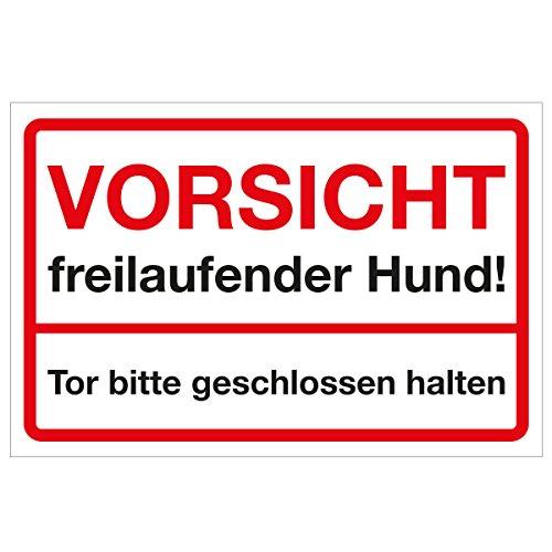 Wandkings Hinweisschild - Vorsicht freilaufender Hund! Tor bitte geschlossen halten! - stabile Aluminium Verbundplatte - Wähle eine Größe - 30x20 cm (Halten Tor Geschlossen Sie)