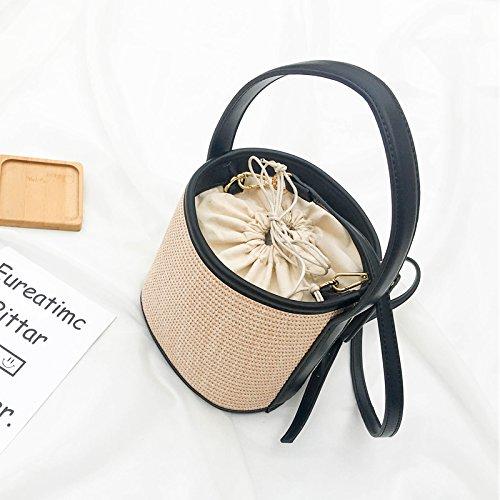 BAGEHUA il negoziante consiglia Maomibag All-Match pura paglia fatti a mano benna Sacchetto piccolo portatile spalla pacchetto Xiekua nero Black
