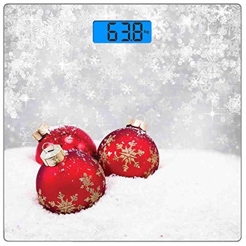 Precision Digital Body Weight Scale Weihnachten Ultra Slim Gehärtetes Glas Personenwaage Genaue Gewichtsmessungen, Weihnachtskugeln auf Schnee mit Schneeflocken Eis Urlaub Humanitäre Kunstwerk Illustr