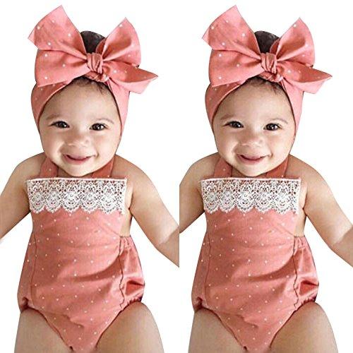 ody Kleinkind Baby Mädchen Strampler Overall Playsuit Infant Stirnband Kleidung Outfits Set Baby Tupfen Spitzenanzug Baby Body Pink ()