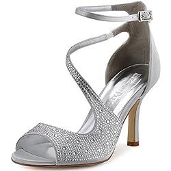 ElegantPark HP1505 Zapatos de tac¨®n Punta abierta Rhinestones raso fiesta zapatos de novia mujer plata talla 39
