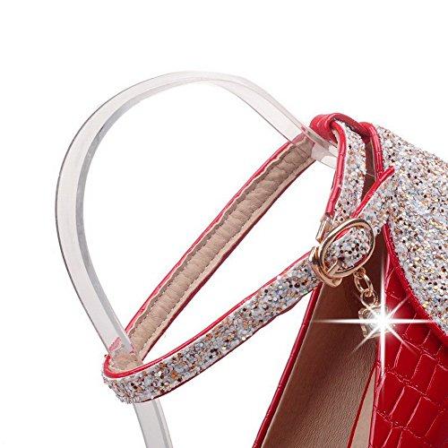 VogueZone009 Donna Punta Tonda Tacco Alto Finta Pelle Scamosciata Chiodato Fibbia Ballerine Rosso