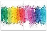 Wallario Herdabdeckplatte/Spritzschutz aus Glas, 2-teilig, 80x52cm, für Ceran- und Induktionsherde, Motiv Regenbogenstreifen auf weißem Hintergrund - Bunter Anstrich