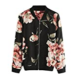 VEMOW Heißer Herbst Mode Damen Frauen Blumendruck Reißverschluss Casaul Daily Party Workout Freizeit Bomber Jacke Outwear Mantel(Schwarz, EU-40/CN-L)
